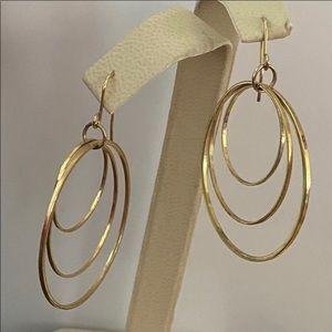 Earrings three hoops - gold